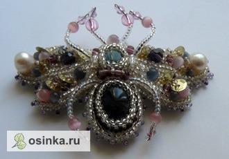 Фото. Нежная брошь-бабочка с аметистом, жемчугом, лабрадоритом... Автор - Валерия Фоминых .