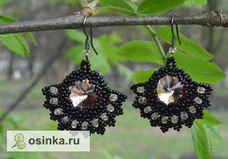 """Фото. Серьги """"Веер Розмари"""": плетеные из чешского и японского черного бисера со вставками из кристаллов риволи. Автор - Vissi2007 ."""