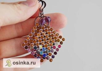 Фото. Серьги с цветными кристаллами Cваровски. Автор - Ronalda .