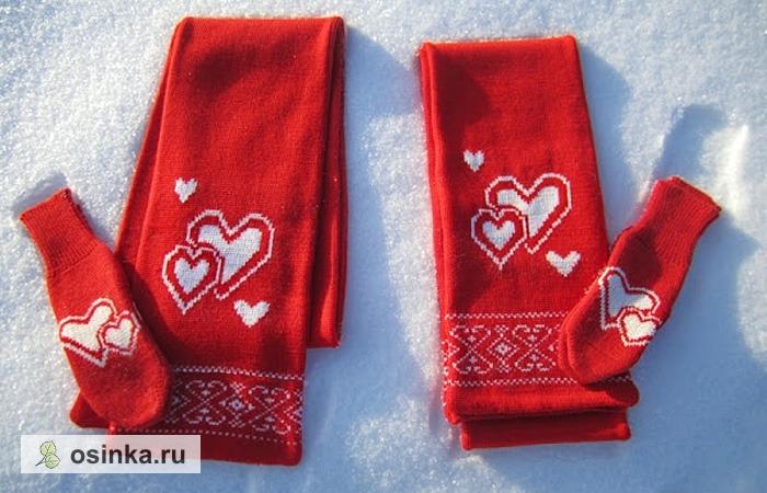 """Фото. """"Сердечный"""" комплект для новобрачных - шарфы и варежки. В таких никакой февральский мороз не страшен! Автор - Подаруночек."""