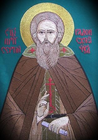 Фото. Вышитая икона Святого Преподобного Сергия Радонежского, каноническое лицевое шитье, машинная вышивка. Автор работы - Anfia