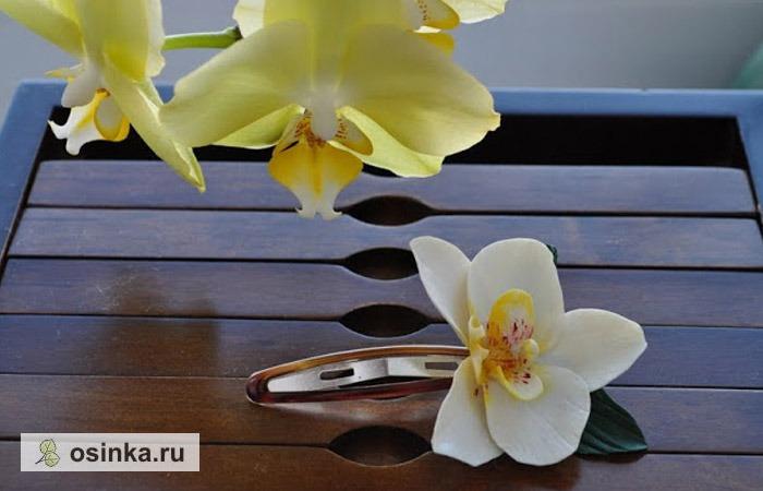 """Фото. Заколка """"Дыхание Таиланда"""". Как уверяет ее автор - YaDandy - на создание этого прекрасного цветка ее вдохновила созванная в саду живая орхидея."""
