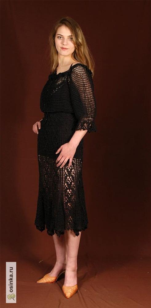 """Фото. Жакет """"Испанка"""" и юбка-годе (лён 100% крючок)."""