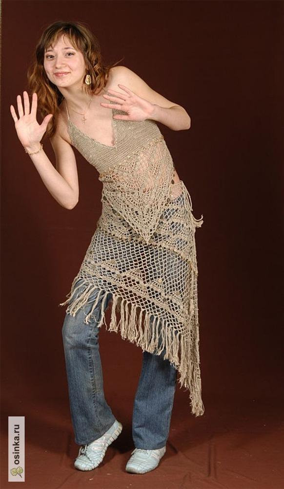 Фото. Топ и юбка-парео (лён 100%, крючок, отделка стеклярусом и декоративными монеткам).