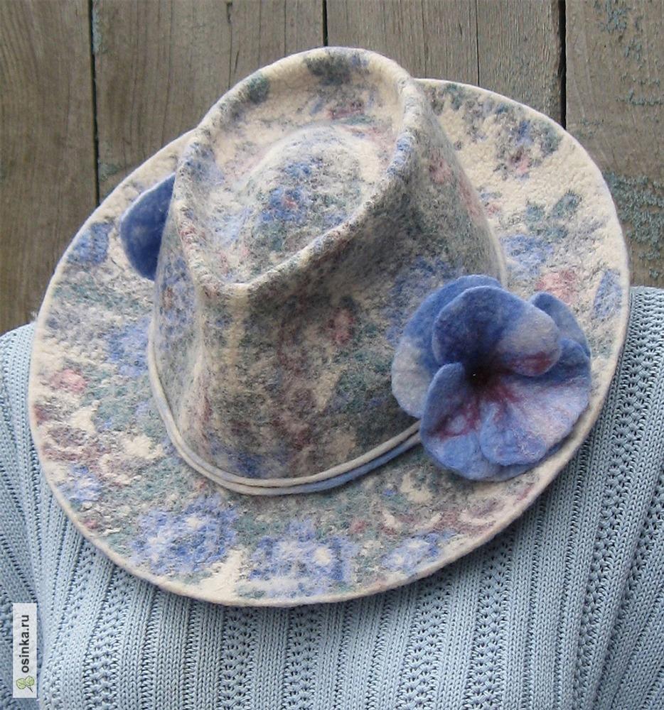 "Фото. Шляпа ""Федора"" (нуновойлок на основе платка ""Весеннее утро"")."