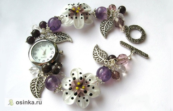 """Фото. Часы """"Ночная лилия"""" - натуральный аметист и бусины ручной работы - настоящий весенний подарок. Автор - IrinaS."""
