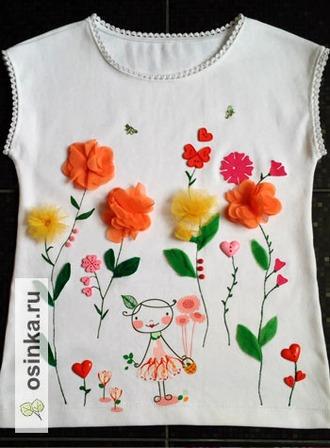 Фото. Вообще аппликация - беспроигрышный способ обновить майку, блузку, футболку или лонгслив. Автор - Александра-81 .