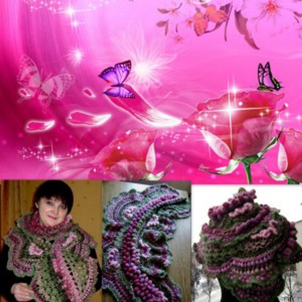 "Фото. Серповидный шарф ""Розовый рай"". Фриформ"