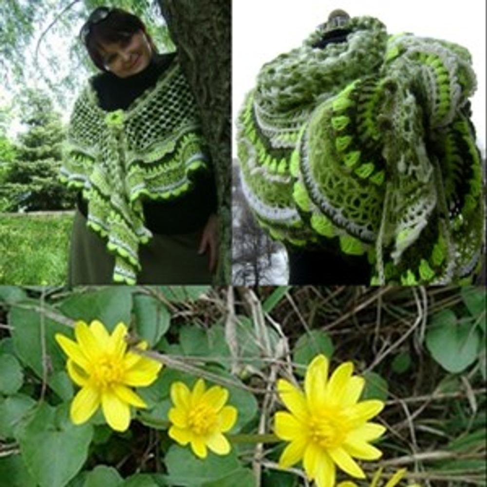 """Фото. Серповидная шаль-шарф-накидка """"Первоцветы"""". Регулярное вязание. Фриформ."""