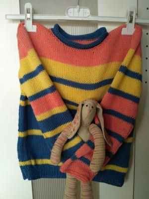 Фото. Полосатый свитерок внуку.  Автор работы - Zavali