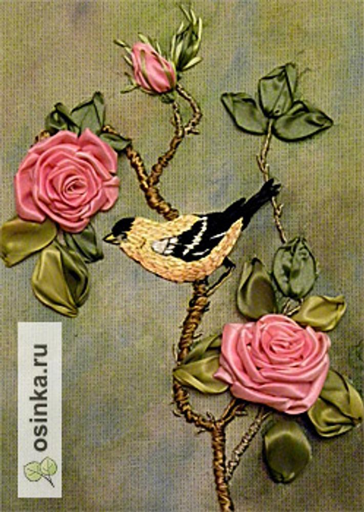"Фото. Вышивка лентами ""Птичка""."