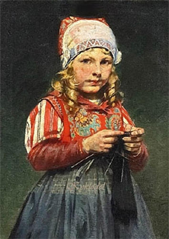 "Фото. R. Possin (1861-1922) ""Knitting Girl""."