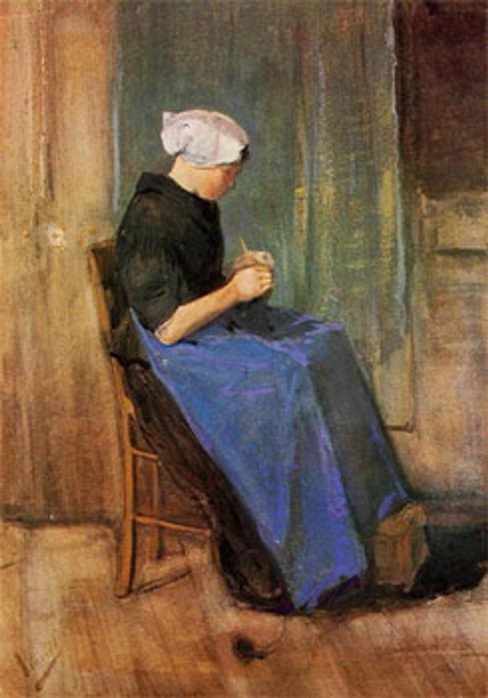 """Фото. Винсент ван Гог, """"Young Woman Knitting"""", 1881."""