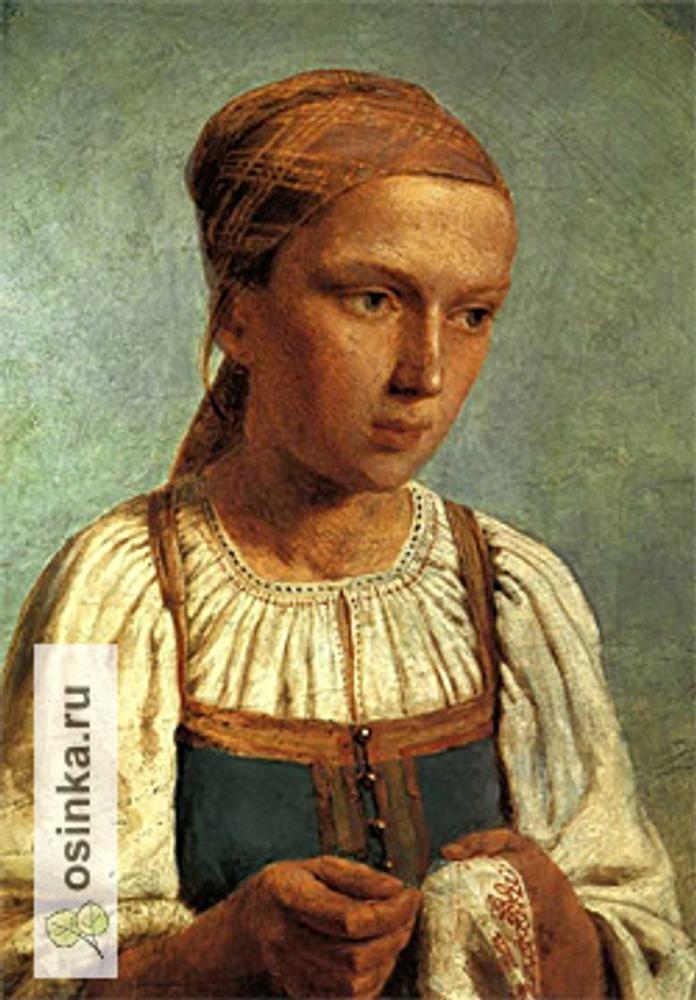 """Фото. А. Г. Венецианов """"Крестьянская девушка за вышиванием"""" (1843). Холст, масло. Государственная Третьяковская галерея, Москва."""