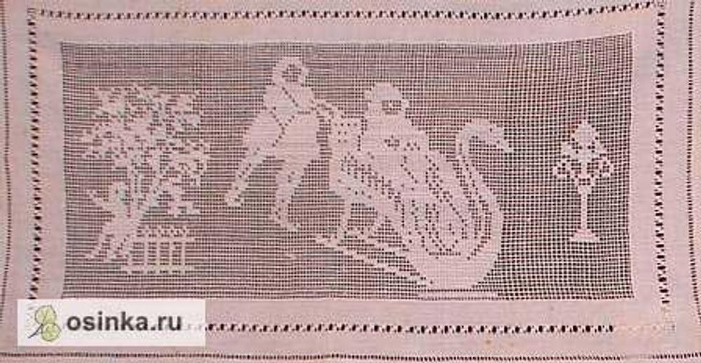 """Фото. Крестецкая строчка: панно """"Сани - лебеди"""", работа до 1914 г., техника - мелкая сетка."""