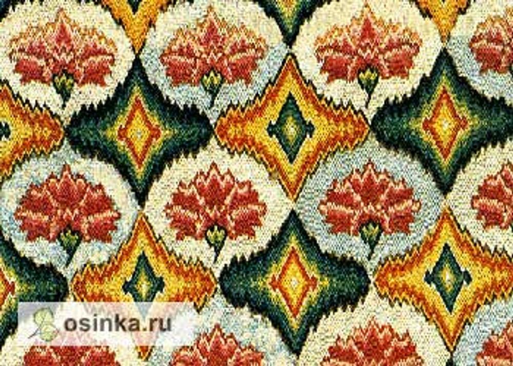 Фото. Вышивка барджелло - образец из коллекции музея Виктории и Альберта, Великобритания.