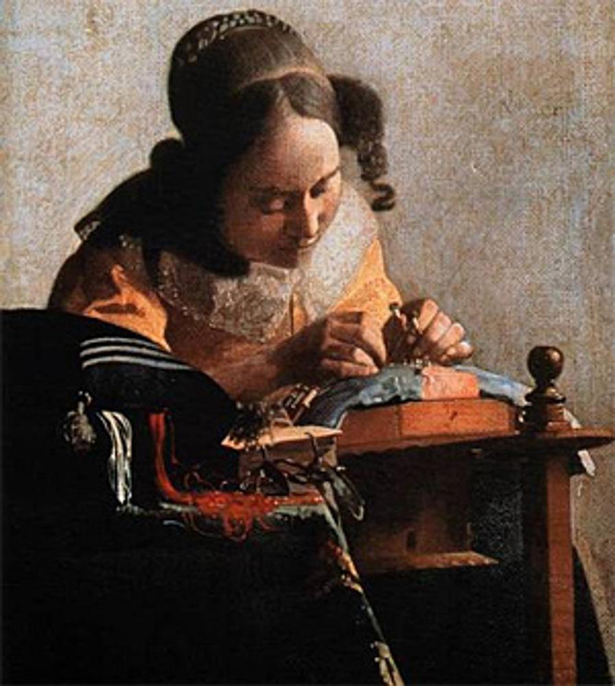 "Фото. Ян Вермеер (Нидерланды), ""Кружевница"", 1669–70 гг., Париж. Лувр."