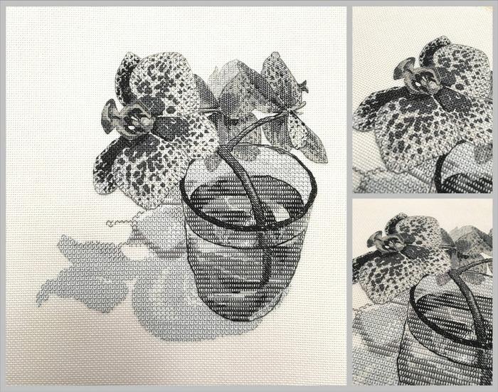 Фото. Орхидея в блэкворке.  Автор работы - Shef