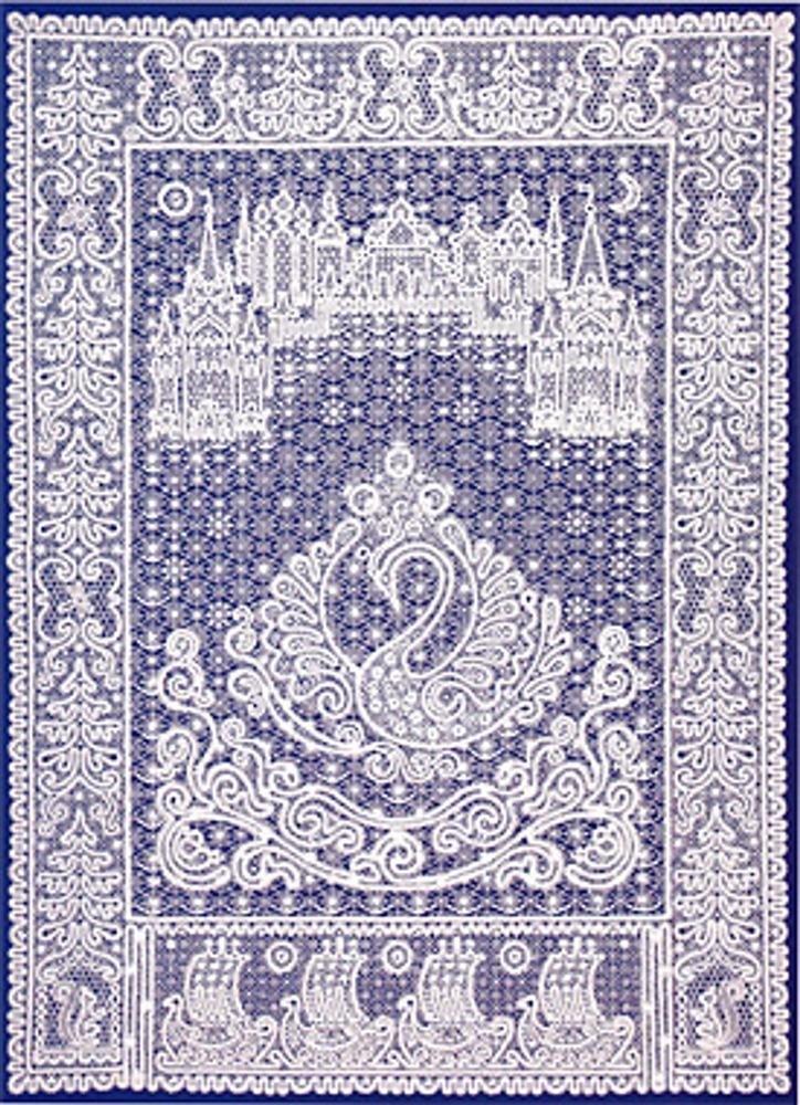 """Фото. Занавес """"Сказка о царе Салтане"""". 1999 г. Авторы: Г.Н. Мамровская, Т.Н. Смирнова. Лен отбеленный, кружево, сцепная техника."""