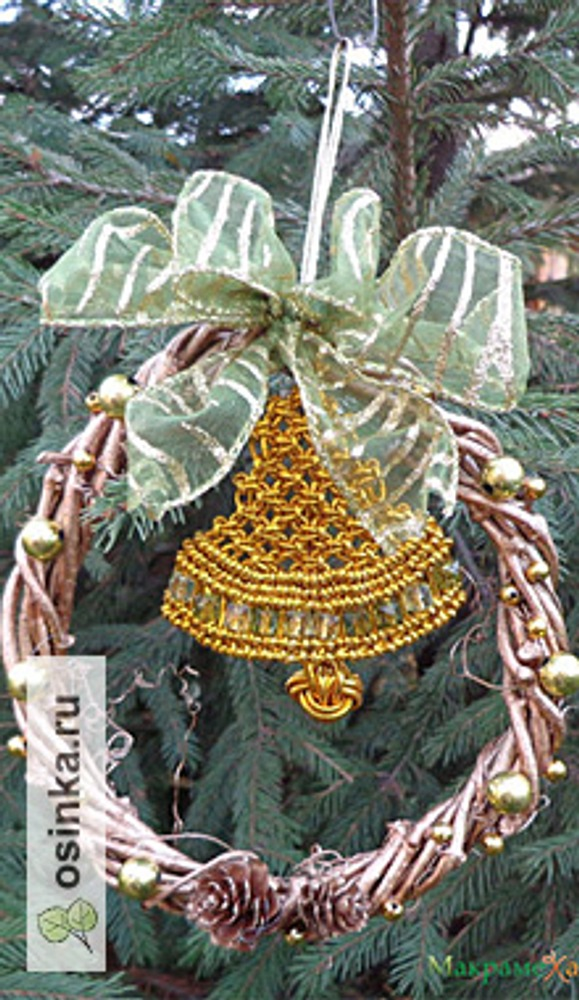 Фото. Елочное украшение, металлизированные нити, ветки, шишки. Автор работы - ketklad .
