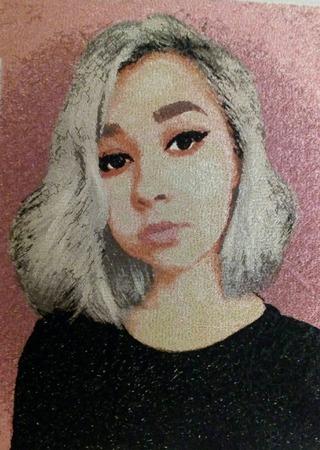 Фото. Портрет, машинная вышивка.  Автор работы - Швея-Софья
