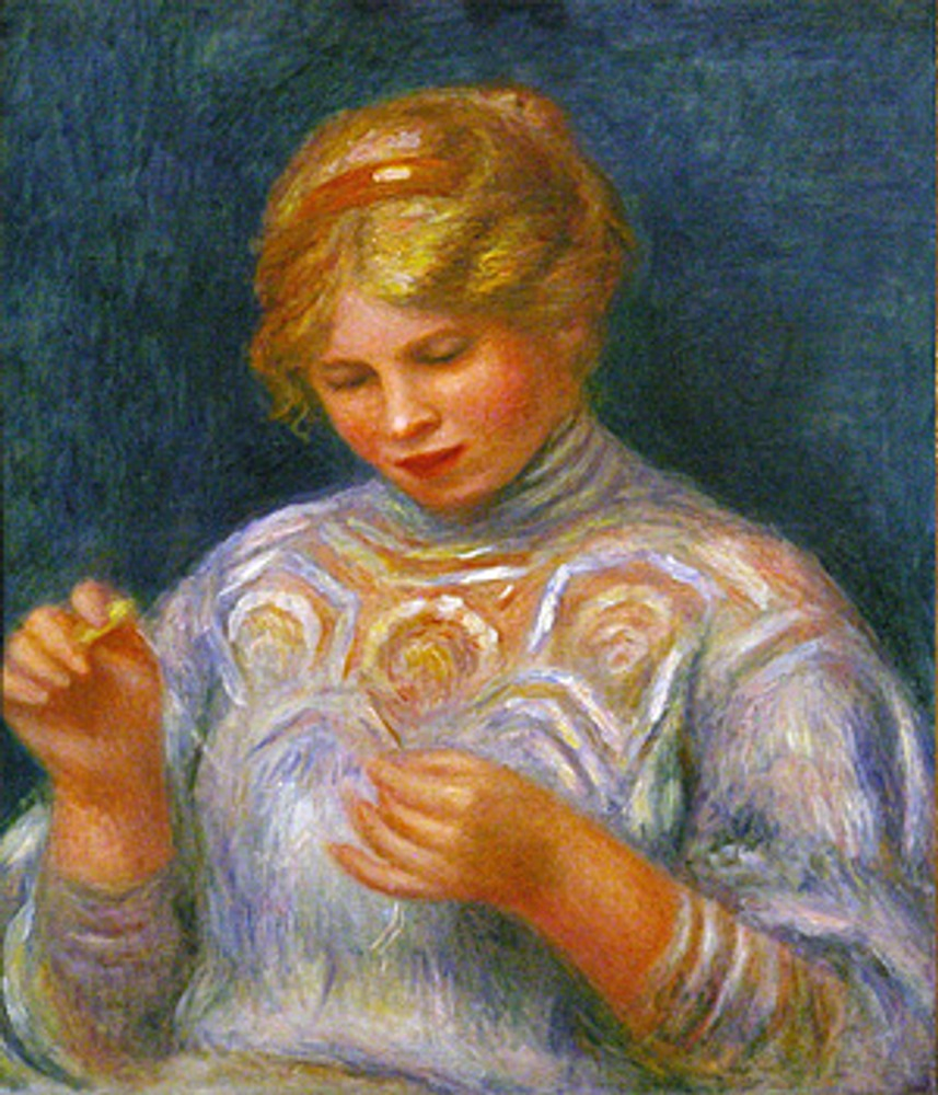 "Фото. ""Girl Tatting"", Пьер Огюст Ренуар, 1906."