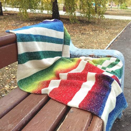 Фото. Разноцветный шарф, машинное вязание.  Автор работы - Zolushkina_Tapetka