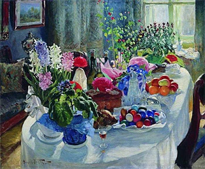 """Фото. """"Пасхальный стол"""" Маковский А.В."""",1915-1916."""