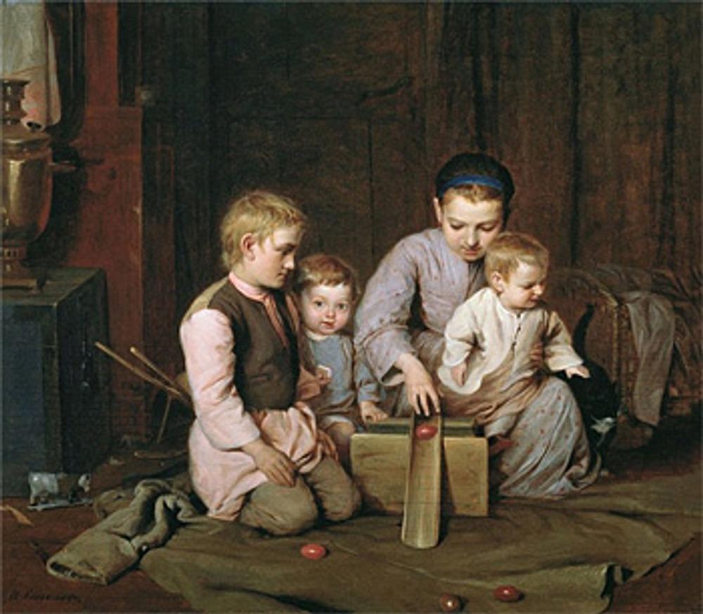 """Фото. Н. А. Кошелев """"Дети, катающие пасхальные яйца"""", 1855."""