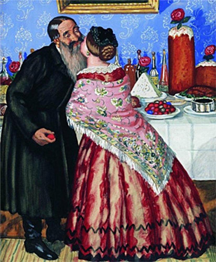 """Фото. Борис Кустодиев """"Пасхальный обряд (Христосование)."""" 1916 г."""