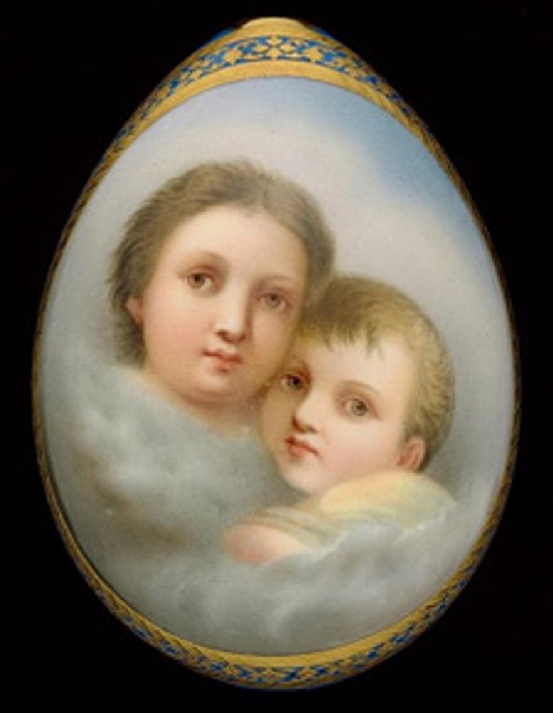 Фото. Фарфоровое пасхальное яйцо с парным детским портретом. ИФЗ. Около 1880 года.
