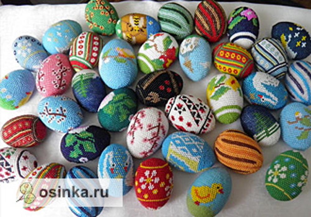 Фото. Пасхальные яйца современных мастериц. Например, из бисера. Автор работы - ЮлиАннушка .