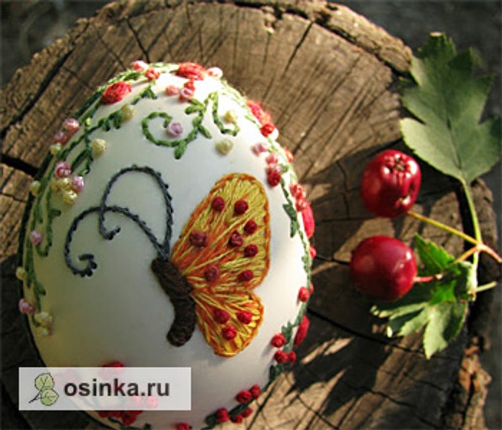 Фото. Вышивка по скорлупе.  Автор работы - alenushka-v .