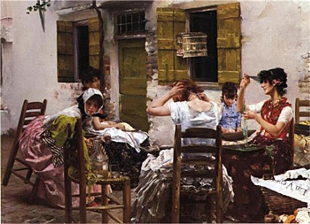 """Фото. Роберт Фредерик Блюм (Robert Frederick Blum) """"Венецианские низальщицы бисера"""", 1887-88 гг."""