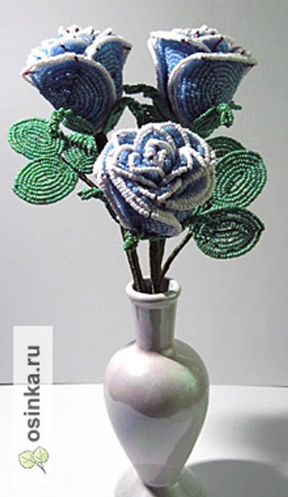 Фото. Букет роз, бисер, медная проволока. вискозные нити. Автор работы - ИАлександра .