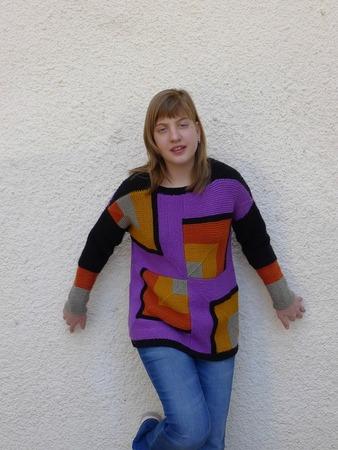 """Фото. Пуловер для дочери """"Граффити"""". Пряжа - разная шерсть, спицы 4. Автор работы - Anlisa"""
