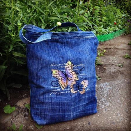 Фото. Джинсы превращаются в сумку. И остается еще место для вышивки. Автор работы - natali2222
