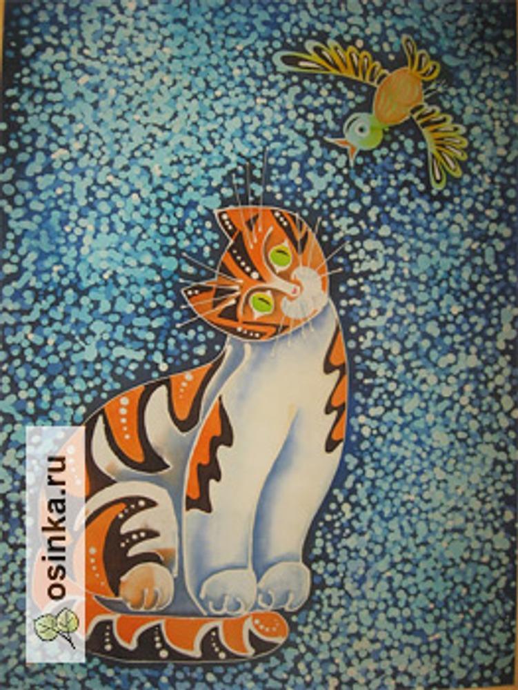 """Фото. Панно """"Кошка"""",  крепдешин, краски под пар. Автор работы - artmarinaa ."""