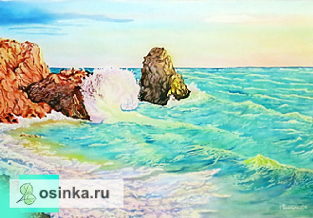"""Фото. Картина в технике батик """"Прибой"""". Автор работы - Зверок ."""