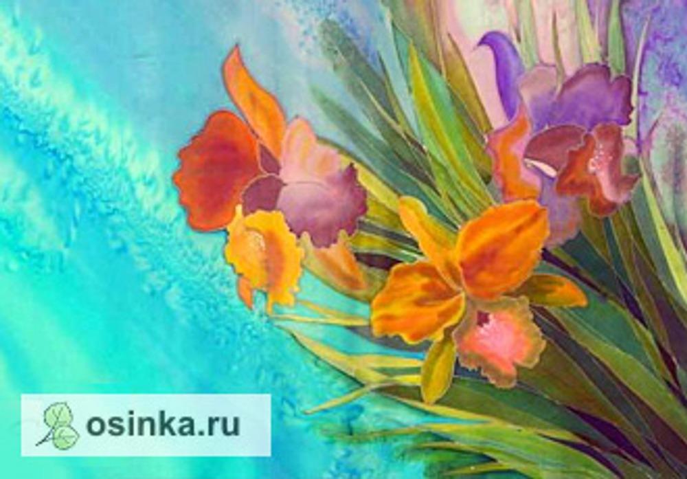 """Фото. """"Орхидеи"""", платок из крепдешина. Автор работы - ."""