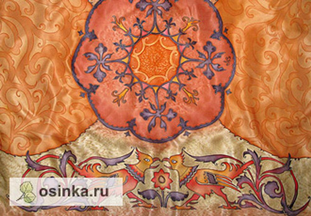 Фото. Шелковый платок со сказочным орнаментом. Холодный батик. Автор работы - ludmila007 .