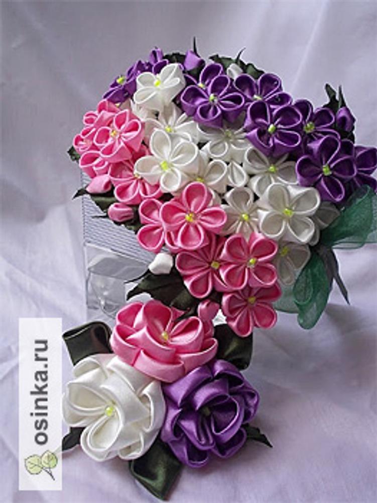 Фото. Сирень и роза в технике канзаши. Автор работы - Demirel .