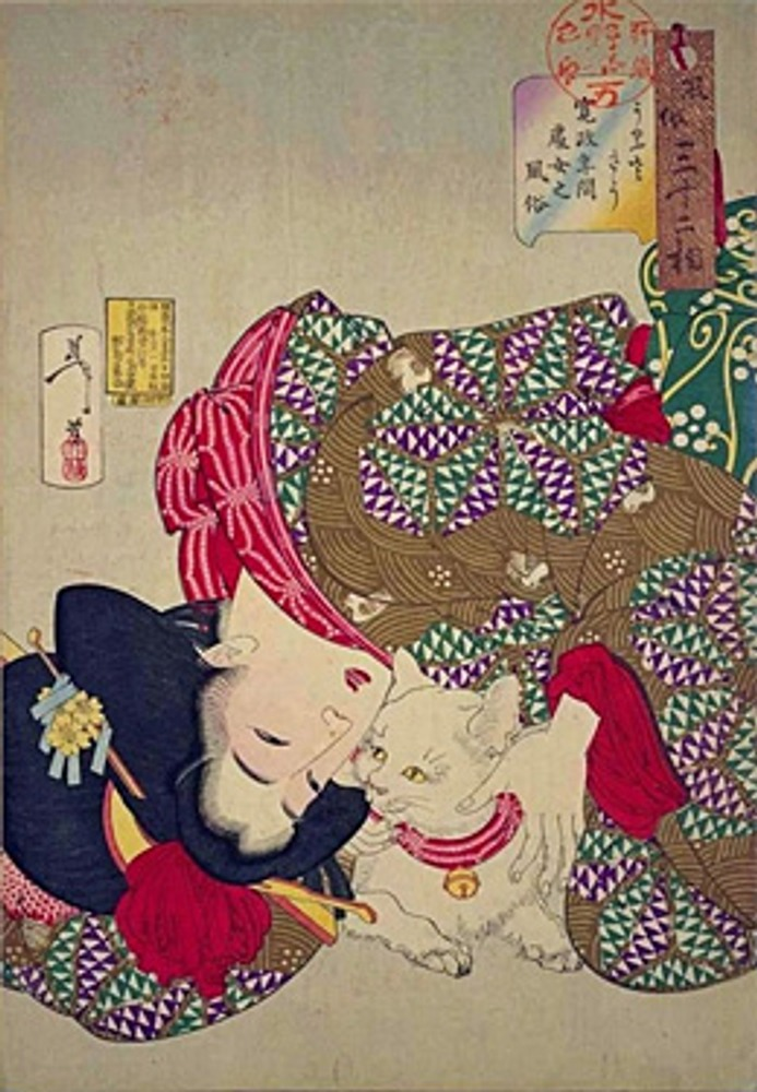 "Фото. Гравюра Цукиока Ёситоси ""A young woman from Kansei period playing with her cat"" (1888)."