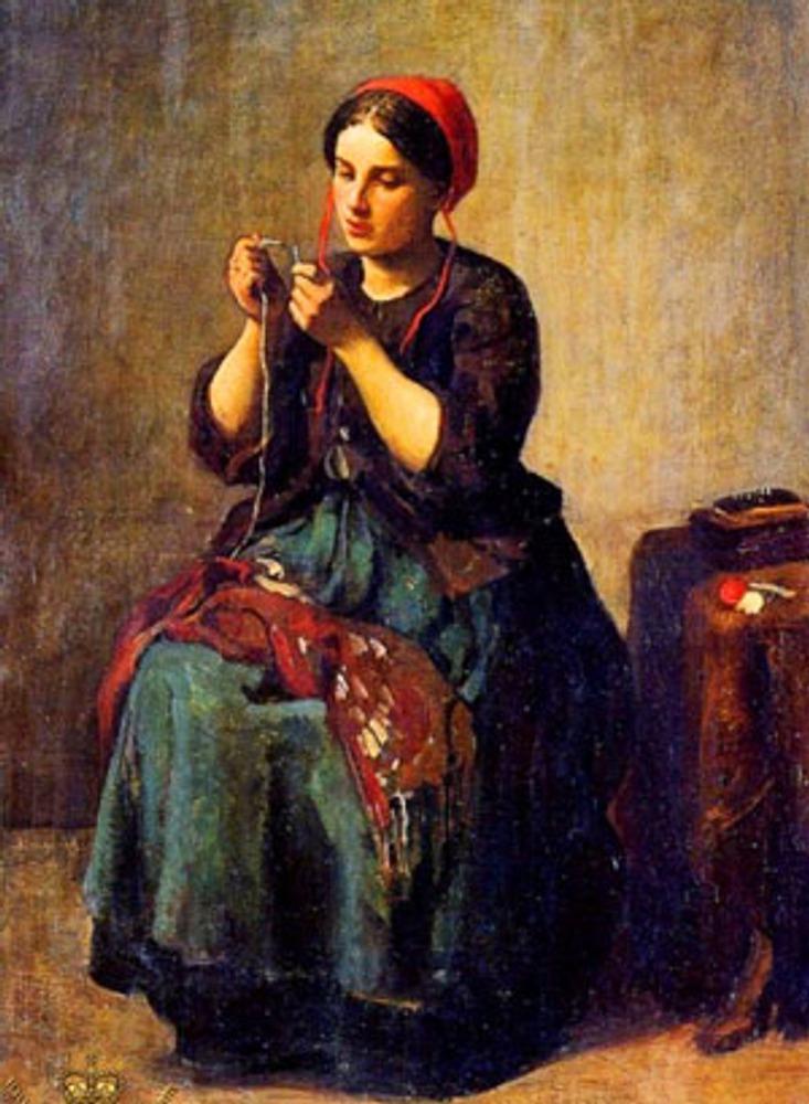 """Фото. Жюль Бретон ( Jules Breton) (1827-1906) """"Нитка и иголка""""."""