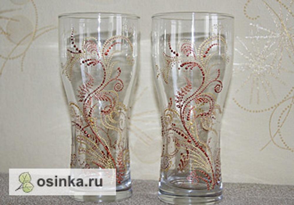 Фото. Точечная роспись по стеклу - пивные бокалы. Автор работы - Аленушка78 .