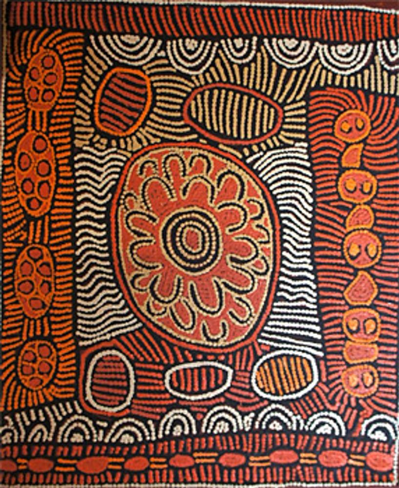 Фото. Живопись школы Папунья (Австралия), 2013 г.. Лен, акриловые краски. Галерея Mulapa Aboriginal Art.