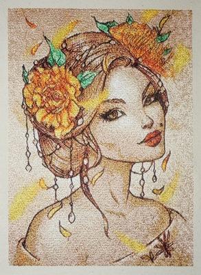 """Фото. Еще девушка из серии """"Времена года"""". Машинная вышивка. Автор работы - Mazzy"""