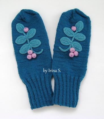 """Фото. Популярные варежки """"Рябинушка"""" в синем цвете.  Автор работы - IrinaS."""