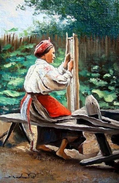 """Фото. """"Ткачиха"""", Чижевский Я., 1895 г."""
