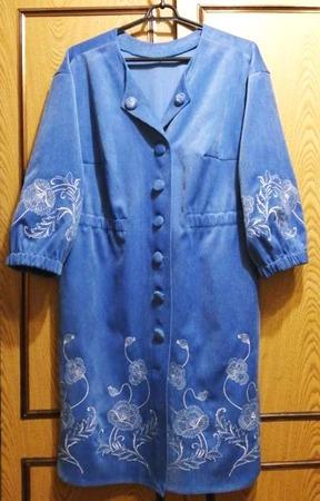 Фото. Платье из микро вельвета, машинная вышивка. Автор работы - tanu 57